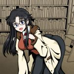 1girl black_hair blue_eyes book breasts commentary_request glasses josei_(kokochiyoihagotae) large_breasts long_hair long_skirt long_sleeves messy_hair necktie open_mouth read_or_die red_neckwear skirt smile solo stairs yomiko_readman