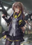 1girl akabane_hibame armband bangs black_legwear black_ribbon black_skirt blurry blurry_background blush brown_eyes brown_hair clothes_writing dual_wielding eyebrows_visible_through_hair fingerless_gloves girls_frontline gloves gun h&k_ump h&k_ump45 hair_between_eyes hair_ornament heckler_&_koch highres holding holding_gun holding_weapon hood hood_down hooded_jacket indoors jacket long_hair looking_at_viewer neck_ribbon one_side_up open_clothes open_jacket pantyhose ribbon scar scar_across_eye scarf shirt sidelocks skirt smile submachine_gun thigh_strap trigger_discipline ump45_(girls_frontline) untucked_shirt weapon white_shirt