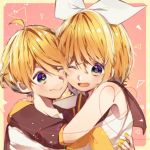 1boy 1girl ;d ahoge blue_eyes blush border brother_and_sister cheek-to-cheek detached_sleeves hair_between_eyes hair_ornament hair_ribbon hairpin heart hug kagamine_len kagamine_rin manya_sora nail_polish neckerchief one_eye_closed open_mouth pink_background ribbon school_uniform serafuku short_hair siblings side_ponytail smile twins upper_body vocaloid white_ribbon yellow_border yellow_nails yellow_neckwear