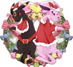 bell belt bow chingling christmas closed_mouth clothed_pokemon creatures_(company) crescent espeon facial_mark forehead_mark forked_tail game_freak gen_2_pokemon hat heart highres nintendo no_humans paws pointy_ears pokemon pokemon_(creature) ribbon santa_costume santa_hat simple_background smile tail umbreon white_background yukichi_(sukiyaki39)