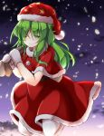 1girl ;) aka_tawashi alternate_costume bangs belt black_belt blush capelet clouds commentary_request crescent_print dress eyebrows_visible_through_hair gloves gradient_sky green_eyes green_hair hair_between_eyes hat highres holding holding_sack jumping kazami_yuuka kazami_yuuka_(pc-98) long_hair looking_at_viewer mittens night night_sky one_eye_closed outdoors petals pom_pom_(clothes) red_capelet red_dress red_hat sack santa_costume santa_hat sky smile solo star star_print touhou touhou_(pc-98) white_gloves white_legwear