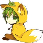 1boy :< animal_ears anzu_(o6v6o) brown_pants chibi drawstring fox_ears fox_hood fox_tail green_eyes green_hair gumiya hood hood_up leaf leaf_on_head looking_back lowres male_focus pants simple_background sitting solo tail v-shaped_eyebrows vocaloid white_background yellow_hoodie