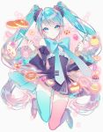 1055 1girl aqua_bow aqua_eyes aqua_hair aqua_legwear aqua_neckwear black_dress bow bowtie cake candy checkerboard_cookie closed_mouth cookie cupcake detached_sleeves doughnut dress food fork fruit full_body grey_background hair_between_eyes hatsune_miku highres holding holding_fork holding_knife jam_cookie jelly_bean jumping knife long_hair long_sleeves looking_at_viewer mismatched_legwear pancake pink_legwear polka_dot puffy_sleeves shoes short_dress skindentation slice_of_cake smile solo sparkle strawberry strawberry_shortcake thigh-highs twintails very_long_hair vocaloid w_arms wide_sleeves wrapped_candy zettai_ryouiki