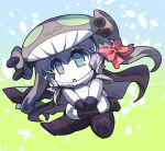 1girl bodysuit chibi cloak commentary_request food_themed_pillow full_body gloves green_background green_eyes grey_hair hair_ribbon hat hisahiko kantai_collection long_hair open_mouth pale_skin pillow pillow_hug red_skirt ribbon ro-class_destroyer shinkaisei-kan skirt tentacle triangle_mouth wo-class_aircraft_carrier