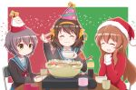 3girls :d ^_^ armband asahina_mikuru bangs black_cardigan blue_sailor_collar blue_skirt blush bottle bow bowl brown_eyes brown_hair cardigan chair chopsticks christmas closed_eyes closed_eyes closed_mouth commentary_request cup eyebrows_visible_through_hair facing_viewer folding_chair fur-trimmed_hat goth_risuto hair_between_eyes hair_bow hairband hands_up hat heart holding holding_bowl holding_chopsticks hotpot long_hair mittens multiple_girls nagato_yuki on_chair open_mouth own_hands_together party_hat red_bow red_hat sailor_collar santa_costume santa_hat sitting skirt smile star suzumiya_haruhi suzumiya_haruhi_no_shoushitsu suzumiya_haruhi_no_yuuutsu table very_long_hair white_mittens yellow_bow yellow_hairband