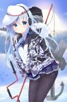 1girl anchor auger belt black_legwear blue_eyes blue_sailor_collar blue_skirt camouflage_jacket cannon cowboy_shot earmuffs eyebrows_visible_through_hair fishing fishing_rod flat_cap hair_between_eyes hammer_and_sickle hat hibiki_(kantai_collection) ice ice_fishing kantai_collection long_hair long_sleeves machinery nature ocean outdoors panties panties_under_pantyhose pantyhose peaked_cap pleated_skirt remodel_(kantai_collection) rigging sailor_collar school_uniform serafuku silver_hair skirt solo standing star sun sunlight thighband_pantyhose torpedo torpedo_tubes tsukiji turret underwear verniy_(kantai_collection) water white_hat white_panties