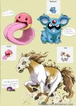 1girl black_eyes character_name claws closed_eyes commentary creature creatures_(company) cubone electrode emoticon english english_commentary fang fusion game_freak gen_1_pokemon hazurasinner heart horse laughing lickitung long_hair looking_at_viewer nidoran nintendo open_mouth pokemon ponyta purple_hair running signature skull_mask standing teeth tentacruel tongue tongue_out watermark web_address