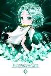 1other androgynous character_name clipboard colored_eyelashes crystal_hair flower glowing green_eyes green_hair highres houseki_no_kuni looking_at_viewer osagelts1213 phosphophyllite short_hair solo upper_body