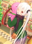 1girl ;d abo_(kawatasyunnnosukesabu) bag bangs black_scrunchie blue_scarf blush christmas christmas_ornaments christmas_tree clothes commentary_request display_case flower green_coat hair_ornament hair_scrunchie highres holding_stuffed_toy long_hair long_sleeves long_tongue looking_at_viewer mall mannequin one_eye_closed open_mouth original plaid plaid_scarf poinsettia red_eyes scarf scrunchie shoulder_bag skirt sleeves_past_wrists smile solo striped_nails tongue tongue_out very_long_hair white_hair