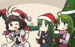 3girls antenna_hair beamed_eighth_notes black_serafuku blazer blue_eyes brown_eyes brown_hair christmas_tree commentary_request cowboy_shot crescent crescent_hair_ornament crescent_moon_pin dated double_bun fur-trimmed_gloves fur_trim gloves green_eyes green_hair hair_ornament half_note hamu_koutarou hat highres jacket kantai_collection long_hair looking_at_viewer microphone mole mole_under_mouth multiple_girls musical_note nagatsuki_(kantai_collection) naka_(kantai_collection) necktie one_eye_closed quarter_note red_gloves remodel_(kantai_collection) santa_hat scarf school_uniform serafuku striped striped_scarf white_neckwear yuugumo_(kantai_collection)
