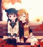 2girls autumn_leaves bangs bench black_jacket black_legwear blazer blue_hair blue_neckwear blue_sweater blurry blurry_foreground bow bowtie brown_sweater closed_eyes closed_mouth collared_shirt depth_of_field dress_shirt hair_bun hair_ornament hairclip head_tilt highres jacket kneehighs kunikida_hanamaru langbazi leaf_hair_ornament light_brown_hair long_hair long_sleeves love_live! love_live!_sunshine!! multiple_girls on_bench open_blazer open_clothes open_jacket park_bench plaid plaid_neckwear plaid_skirt pleated_skirt red_neckwear red_skirt shirt side_bun signature sitting sitting_on_bench skirt sleeping sleeping_on_person sleeping_upright sleeves_past_wrists sweater thigh-highs tree tsushima_yoshiko violet_eyes wavy_mouth white_jacket white_shirt white_skirt