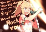 1girl blonde_hair clenched_hand commentary_request fate/grand_order fate_(series) grey_eyes lyrics microphone mikoyan mordred_(fate) mordred_(fate)_(all) music open_mouth ponytail queen_(band) red_scrunchie scrunchie shirt singing solo upper_body wet wet_clothes wet_shirt