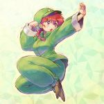 1girl :o bangs black_footwear braid cabbie_hat chinese_clothes clenched_hand eyebrows_visible_through_hair fighting_stance frown full_body fuusuke_(fusuke208) genderswap genderswap_(mtf) green_hat green_jacket green_pants hair_over_shoulder hat jacket jumping long_hair long_sleeves open_mouth pants ranma-chan ranma_1/2 red_eyes redhead saotome_ranma single_braid slippers solo star_hat_ornament tangzhuang v-shaped_eyebrows