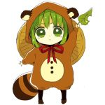 1girl :< anzu_(o6v6o) arm_up chibi cosplay full_body green_eyes green_hair gumi hat holding holding_leaf hood hood_up kigurumi leaf long_sleeves looking_at_viewer lowres neck_ribbon raccoon_hood raccoon_tail red_neckwear ribbon rice_hat short_hair simple_background solo standing tail tearing_up v-shaped_eyebrows vocaloid white_background