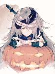 1girl bandage bandage_over_one_eye bandaged_arm bandaged_head bandages blue_scarf commentary crossed_arms g11_(girls_frontline) girls_frontline grey_hair hair_between_eyes halloween kashii_(amoranorem) knife knife_in_head looking_at_viewer messy_hair open_mouth pumpkin scarf solo torn_clothes yellow_eyes