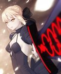 1girl amase_(yagami666) artoria_pendragon_(all) back_bow black_bow black_dress black_sleeves blonde_hair bow braided_bun breasts choker cleavage dress excalibur fate/stay_night fate_(series) hair_bow holding holding_sword holding_weapon medium_breasts parted_lips saber_alter short_hair shrug_(clothing) sidelocks sleeveless sleeveless_dress smile solo standing sword upper_body weapon white_petals yellow