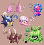:d animon beta_pokemon brown_background claws closed_eyes creature creatures_(company) cubicflan ditto english eye_contact fangs fish game_freak gen_1_pokemon grin happy highres horn horns jaranra lightning_bolt looking_at_another looking_at_viewer monja nintendo no_humans one-eyed open_mouth plucks_(pokemon) pokemon pokemon_(creature) pokemon_(game) pokemon_gsc pokemon_gsc_beta porygon2 porygon2_(beta) shibirefugu simple_background smile sprites sweat tangrowth tangrowth_(beta) wataneko