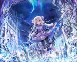 1girl ainu_clothes aurora bangs black_gloves black_legwear boots bow brown_footwear castle clouds commentary_request crystal eyebrows_visible_through_hair falling_star fate/grand_order fate_(series) fingerless_gloves fur_trim gloves hair_between_eyes hair_bow hair_tubes highres illyasviel_von_einzbern leg_warmers light_brown_hair long_hair long_sleeves night night_sky outdoors pantyhose petals pink_bow planted_sword planted_weapon red_eyes sidelocks sitonai sky snowflakes solo standing star_(sky) starry_sky sword tower utatanecocoa very_long_hair weapon wide_sleeves