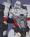 1boy arm_cannon ban cannon commentary decepticon glowing insignia machinery mecha megatron no_humans oldschool red_eyes robot science_fiction transformers translation_request weapon