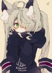 +_+ 1girl ahoge animal_ear_fluff bangs black_hoodie blush brown_background closed_mouth clothes_writing commentary_request eyebrows_visible_through_hair green_eyes grey_hair hair_over_one_eye hands_up highres hood hood_down hoodie long_hair long_sleeves looking_at_viewer muuran original romaji signature simple_background sleeves_past_wrists smile solo twintails upper_body very_long_hair