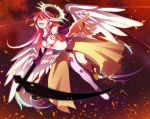 1girl angel_wings artist_request breasts bridal_gauntlets commentary_request crop_top cross evil_smile feathered_wings full_body gradient_hair halo holding holding_weapon jibril_(no_game_no_life) long_hair low_wings magic_circle medium_breasts midriff mismatched_legwear multicolored multicolored_eyes multicolored_hair navel no_game_no_life open_mouth orange_eyes pink_hair scythe shoes sideboob single_shoe smile solo symbol-shaped_pupils very_long_hair weapon white_wings wing_ears wings yellow_eyes