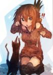 !! /\/\/\ 1girl absurdres alternate_costume bangs brown_eyes brown_hair brown_sweater cat cat_teaser commentary_request dress folded_ponytail hair_between_eyes highres inazuma_(kantai_collection) kaamin_(mariarose753) kantai_collection kneeling looking_at_viewer off_shoulder open_mouth over-kneehighs playing solo surprised sweatdrop sweater sweater_dress thigh-highs