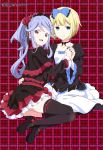 2girls :d absurdres amano_arisu ass bangs black_bow black_capelet black_choker black_dress black_footwear black_hairband black_legwear black_nails blonde_hair blue_bow blue_eyes blue_ribbon bow breasts capelet choker collarbone colored_eyelashes dress dress_bow eyebrows_visible_through_hair fingernails flower flower_ornament frilled_bow frilled_dress frills gold_trim gothic_lolita hair_flower hair_ornament hair_ribbon hairband hand_holding hand_on_another's_waist highres interlocked_fingers itou_kurosu juliet_sleeves lace lace-trimmed_capelet lace-trimmed_dress lavender_hair layered_dress lolita_fashion lolita_hairband long_sleeves looking_at_viewer looking_back magazine_scan mary_janes megami multiple_girls nail_polish official_art open_mouth parted_bangs pink_lips plaid plaid_background print_footwear puffy_sleeves red_eyes red_flower red_ribbon red_rose ribbon ribbon-trimmed_legwear ribbon_trim rose scan shiny shiny_hair shoes short_hair sitting skindentation small_breasts smile thigh-highs tongue twocar white_dress white_frills yamamoto_akitomo yokozuwari zettai_ryouiki