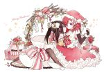2girls bell black_hair blush boots bow christmas christmas_ornaments eyebrows_visible_through_hair gift hair_ornament hat highres looking_at_another love_live! love_live!_school_idol_project multiple_girls nishikino_maki open_mouth red_eyes redhead santa_costume santa_hat short_hair sweatdrop twintails violet_eyes yazawa_nico yukiko_(tesseract)