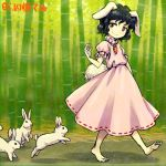 1girl animal_ears arm_at_side arm_up bamboo bamboo_forest barefoot black_hair brown_eyes bunny_tail carrot carrot_necklace closed_mouth dress floppy_ears forest full_body inaba_tewi jewelry lowres meimaru_inuchiyo nature outdoors pendant pink_dress puffy_short_sleeves puffy_sleeves rabbit rabbit_ears red_ribbon ribbon ribbon-trimmed_dress short_hair short_sleeves smile solo standing sunlight tail touhou walking