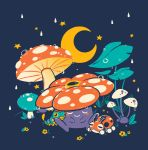 caterpie creatures_(company) crescent_moon cuhelski dew_drop game_freak gen_1_pokemon gen_2_pokemon leaf ledyba moon mushroom nintendo no_humans pokemon pokemon_(creature) rain vileplume water_drop wet