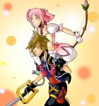 1boy 1girl bow_(weapon) brown_hair bubble_skirt carrying crossover general_radix kaname_madoka keyblade kingdom_hearts kingdom_hearts_ii magical_girl mahou_shoujo_madoka_magica piggyback pink_eyes pink_hair ribbon short_twintails skirt smile sora_(kingdom_hearts) soul_gem twintails weapon