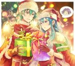 1boy 1girl aqua_eyes aqua_hair artist_name box brother_and_sister cape earrings eirika ephraim fire_emblem fire_emblem:_seima_no_kouseki fire_emblem_heroes fur_trim gift gift_bag gift_box gloves hat jewelry long_hair long_sleeves lyon_(fire_emblem) nintendo okii parted_lips pom_pom_(clothes) red_gloves red_hat santa_costume santa_hat short_hair siblings