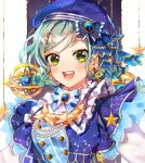 1girl :d aqua_hair armillary_sphere artist_name bang_dream! beret blue_bow blue_hat blue_neckwear blush bow brooch constellation_hair_ornament constellation_print double_bun earrings frills green_eyes hair_bow hair_ornament hat hat_bow hikawa_hina jewelry maneul_(gr_722) open_mouth short_hair side_braids smile solo star star_earrings upper_body
