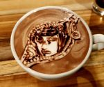 1boy black_hair bob_cut bruno_buccellati cup george_(yamamoto_kazuki) highres jojo_no_kimyou_na_bouken latte_art looking_at_viewer male_focus photo solo unconventional_media vento_aureo zipper zipper_pull_tab