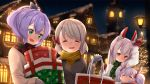 4girls :d ame. animal_ears ayanami_(azur_lane) azur_lane bag bangs black_ribbon blush bow box brown_coat brown_hair building christmas christmas_lights christmas_tree closed_eyes closed_mouth coat commentary_request eyebrows_visible_through_hair gift gift_box green_eyes green_scarf hair_between_eyes hair_bow hair_ribbon headgear high_ponytail holding holding_bag holding_gift jacket javelin_(azur_lane) laffey_(azur_lane) mittens multiple_girls night night_sky open_mouth outdoors paper_bag parted_lips plaid plaid_scarf ponytail purple_hair rabbit_ears red_bow red_eyes red_mittens red_scarf ribbon scarf shopping_bag sidelocks silver_hair sky smile twintails white_jacket window yellow_scarf z23_(azur_lane)