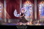 1girl animal_ears bird_ears brown_dress candle david_hrusa dress english_text highres kneeling light_rays mystia_lorelei no_hat no_headwear phantom_of_the_opera picture_frame pillar praying sariel stained_glass stone_floor touhou wings