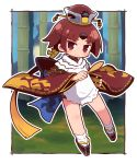 >:) 1girl apron bamboo bangs benienma_(fate/grand_order) black_footwear blue_sky blush brown_eyes brown_hair brown_hat brown_kimono chibi closed_mouth commentary_request day eyebrows_visible_through_hair fate/grand_order fate_(series) full_body gradient_hair hat head_tilt highres holding holding_spoon japanese_clothes kimono long_sleeves multicolored_hair naga_u orange_hair outline parted_bangs platform_footwear short_kimono sky smile socks solo spoon tabi v-shaped_eyebrows white_apron white_legwear white_outline wide_sleeves wooden_spoon zouri