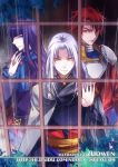 2011 3boys artist_name bangs black_nails blue blue_eyes blunt_bangs breastplate cape claugh_klom densetsu_no_yuusha_no_densetsu from_outside grey_cape long_hair looking_at_viewer milan_froward multiple_boys nail_polish necktie purple_hair rain red_eyes redhead shoulder_armor silver_hair sion_astal spaulders watermark web_address yellow_eyes zuowen