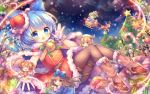 5girls ahoge alternate_costume animal antlers ascot bangs bell belt black_hair blonde_hair blue_bow blue_eyes blue_hair blue_wings blunt_bangs blurry bow box brown_belt candy candy_cane capelet christmas_ornaments christmas_tree cirno closed_eyes clouds daiyousei depth_of_field dress eyebrows_visible_through_hair fake_facial_hair fake_mustache food fur-trimmed_capelet fur_trim gift gift_box gloves green_hair hair_bow hat ice ice_wings knees_up looking_at_viewer luna_child minigirl multiple_girls night night_sky orange_hair pantyhose pink_bow pjrmhm_coa pom_pom_(clothes) red_capelet red_dress red_footwear red_hat reindeer reindeer_antlers santa_costume santa_hat shoes short_hair sitting sky sled smile snow snowflakes star star_sapphire sunny_milk touhou waving white_gloves wings winter yellow_eyes