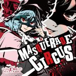1girl album_cover alternate_costume ascot black_sleeves blue_hair bow capelet cover dress fingernails frilled_shirt frills girdle hat long_fingernails long_sleeves looking_at_viewer mask mob_cap pink_dress red_bow red_eyes red_ribbon remilia_scarlet ribbon shirt solo splatter touhou zoom_layer