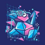 abstract_background bird creature creatures_(company) cuhelski full_body game_freak gen_1_pokemon grid nintendo no_humans pokemon pokemon_(creature) porygon purple_background simple_background solo sunglasses