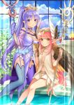 2girls :o anklet apple aqua_footwear armlet aunt_and_niece banana bangs bare_shoulders blue_sky boots bracelet breasts brown_eyes brown_wings caster_lily chalice choker circe_(fate/grand_order) cleavage closed_mouth clouds cloudy_sky collarbone commentary_request cup day dress eyebrows_visible_through_hair fate/grand_order fate_(series) feathered_wings food fruit gloves grapes hair_ornament hair_scrunchie halter_top halterneck head_wings high_heel_boots high_heels high_ponytail highres holding holding_cup holding_staff indoors jewelry kneeling lens_flare long_hair looking_at_viewer mismatched_footwear multiple_girls navel necklace off-shoulder_dress off_shoulder pelvic_curtain pink_hair pixiv_fate/grand_order_contest_2 plant plate pointy_ears ponytail purple_choker purple_dress purple_footwear purple_gloves purple_hair purple_scrunchie revision scrunchie see-through shiny shiny_hair shirt sidelocks sitting skirt sky sleeveless sleeveless_shirt small_breasts smile soaking_feet staff thigh-highs thigh_boots thighlet tiara very_long_hair violet_eyes water white_shirt white_skirt window wings yumesaki