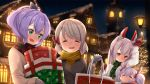 4girls alternate_costume ame. animal_ears ayanami_(azur_lane) ayanami_(kantai_collection) azur_lane bag bangs blush bow building buttons christmas christmas_lights christmas_ornaments christmas_tree clinging closed_eyes closed_mouth commentary_request eyebrows eyebrows_visible_through_hair gift green_eyes grey_hair hair_between_eyes holding house hug javelin_(azur_lane) laffey_(azur_lane) long_hair long_sleeves mittens multiple_girls night night_sky open_mouth purple_hair rabbit_ears red_eyes rooftop scarf shopping_bag short_hair sky sleeping smile snow star sweater tree twintails white_hair winter winter_clothes z23_(azur_lane)