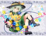 1girl black_footwear blue_flower blue_rose boots bow collared_shirt eyeball flower flower_border frilled_shirt_collar frills full_body green_eyes green_hair green_skirt grey_background grin hair_between_eyes hat hat_bow heart heart-shaped_pupils highres komeiji_koishi kuronohana lace_background long_sleeves looking_at_viewer medium_hair outstretched_hand petals pink_ribbon ribbon rose rose_petals shirt skirt smile solo sparkle symbol-shaped_pupils third_eye touhou water_drop yellow_bow yellow_flower yellow_rose yellow_shirt