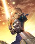 1girl ahoge aora armor armored_dress armored_skirt artoria_pendragon_(all) aura blonde_hair blue_dress blue_ribbon breastplate closed_mouth clouds commentary dress dusk english_commentary excalibur eyebrows_visible_through_hair fate/stay_night fate_(series) faulds gauntlets green_eyes hair_ribbon holding holding_sword holding_weapon light_particles outdoors puffy_sleeves ribbon saber sky standing sword weapon