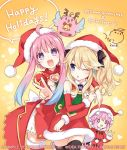 3girls blonde_hair christmas compile_heart d-pad d-pad_hair_ornament gift hair_ornament hat histoire ileheart long_hair looking_at_viewer multiple_girls neptune_(choujigen_game_neptune) neptune_(series) official_art open_mouth pink_hair purple_hair santa_costume sidelocks smile star star-shaped_pupils symbol-shaped_pupils tsunako twintails v violet_eyes virtual_youtuber