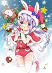 1girl angora_rabbit animal animal_costume animal_ears bangs blue_eyes blush box capelet christmas_wreath commentary_request eyebrows_visible_through_hair full_body fur-trimmed_boots fur-trimmed_capelet fur-trimmed_hat fur-trimmed_mittens fur_trim gift gift_box gochuumon_wa_usagi_desu_ka? hair_between_eyes hair_ornament hat holding holding_sack kafuu_chino long_sleeves looking_at_viewer mittens overall_shorts parted_lips pom_pom_(clothes) purple_hair rabbit rabbit_ears red_capelet red_footwear red_hat red_mittens reindeer_costume rikatan sack santa_costume santa_hat shirt snowflakes star thigh-highs tippy_(gochiusa) twintails white_legwear white_shirt x_hair_ornament