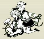 1boy 1girl ahoge anchor anchor_symbol anzu_(o6v6o) between_legs brother_and_sister hair_ornament hairpin hand_between_legs hand_on_another's_shoulder hat hat_removed hat_ribbon headwear_removed holding holding_hat innertube kagamine_len kagamine_rin kneeling legs_crossed multiple_monochrome neckerchief one_eye_closed ribbon school_uniform serafuku ship's_wheel shoes short_hair short_sleeves siblings sitting skirt socks striped striped_background telescope twins vocaloid