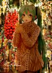 1girl :d aqua_eyes aqua_hair bangs beige_sweater christmas christmas_ornaments decorations hair_between_eyes hands_together hatsune_miku highres long_hair long_sleeves merry_christmas open_mouth smile solo sweater takepon1123 twintails twitter_username upper_body very_long_hair vocaloid