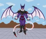 1boy alucard_(hellsing) bat_wings cell_(dragon_ball) claws demon dragon_ball dragonball_z electricity evil evil_smile extra_eyes fingernails fusion hellsing highres hybrid long_fingernails male_focus pale_skin purple_armor red_eyes smile splaty tail transformation vampire wings